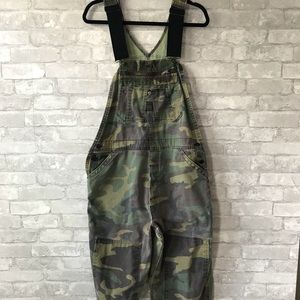 Vintage faded camouflage oversized overalls